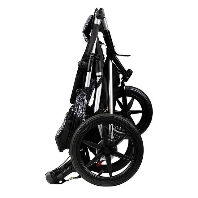 Mountain Buggy terrain stroller in black and white graphite colour folds down compactly_graphite