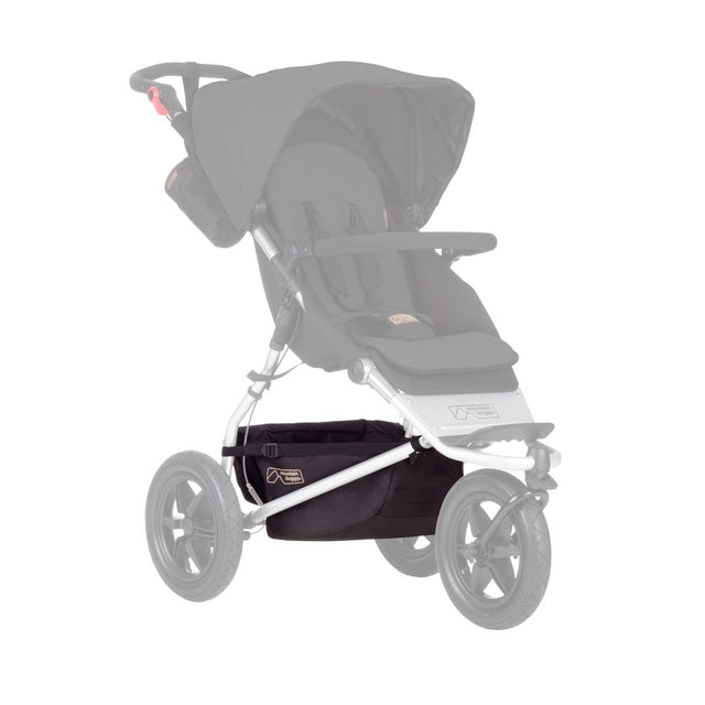 Mountain Buggy replacement parcel tray shown on buggy for urban jungle and terrain stroller in black_black