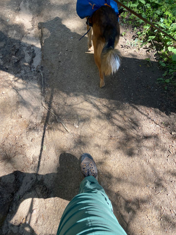 Hiking in the pants.