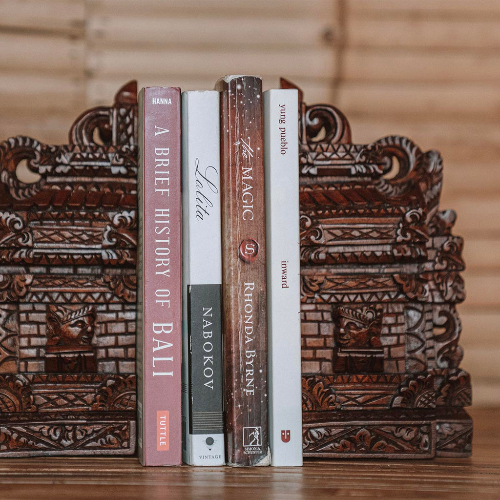 Wood-carved Temple Door Bookends