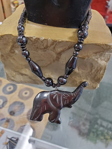 Hematite Elephant Necklace