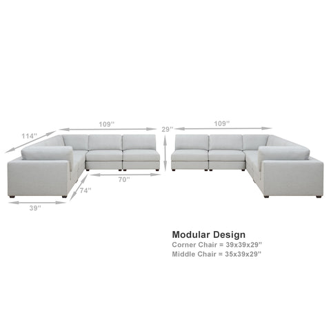 REED 10A Modular Deep Seating Sofa Sectional, 10-piece