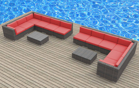 La Jolla - 14pc Ultra Modern Wicker Patio Set