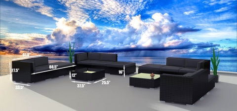 Black Series 14c - Ultra Modern Wicker Patio Set