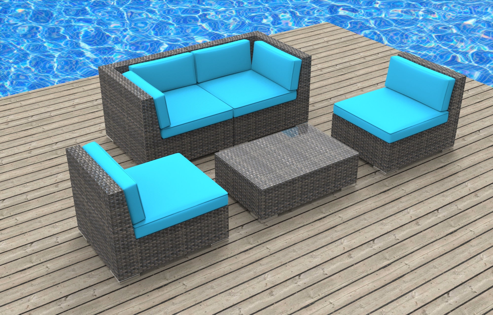 Rio 5pc Ultra Modern Wicker Patio Set