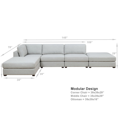 REED 5A Modular Deep Seating Sofa Sectional, 5-piece **Backorder - ETA 7/4/19**