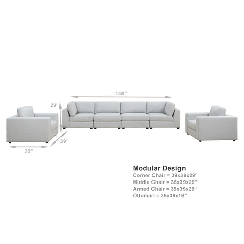 REED 6F Modular Deep Seating Sofa Sectional, 6-piece (Back-in-stock: 9/15/20)
