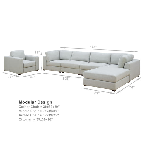 REED 6D Modular Deep Seating Sofa Sectional, 6-piece