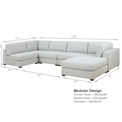 REED 6E Modular Deep Seating Sofa Sectional, 6-piece (Back-in-stock: 9/15/20)