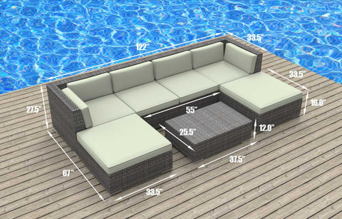Maui - 7pc Ultra Modern Wicker Patio Set
