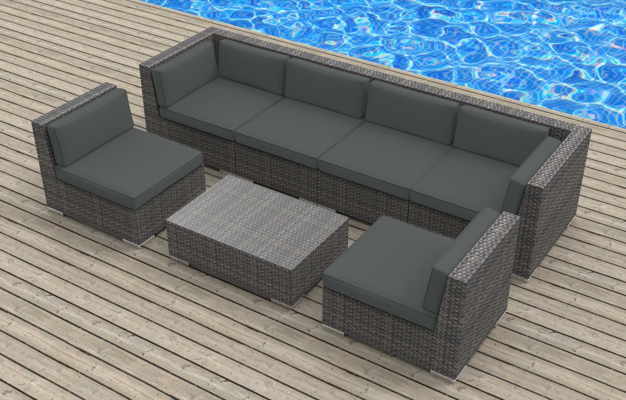 oahu  pc ultra modern wicker patio set  wwwurbanfurnishingnet - oahu  pc ultra modern wicker patio set
