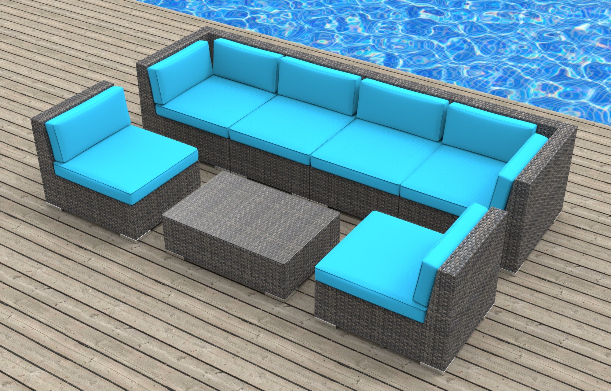Ordinaire Oahu   7pc Ultra Modern Wicker Patio Set