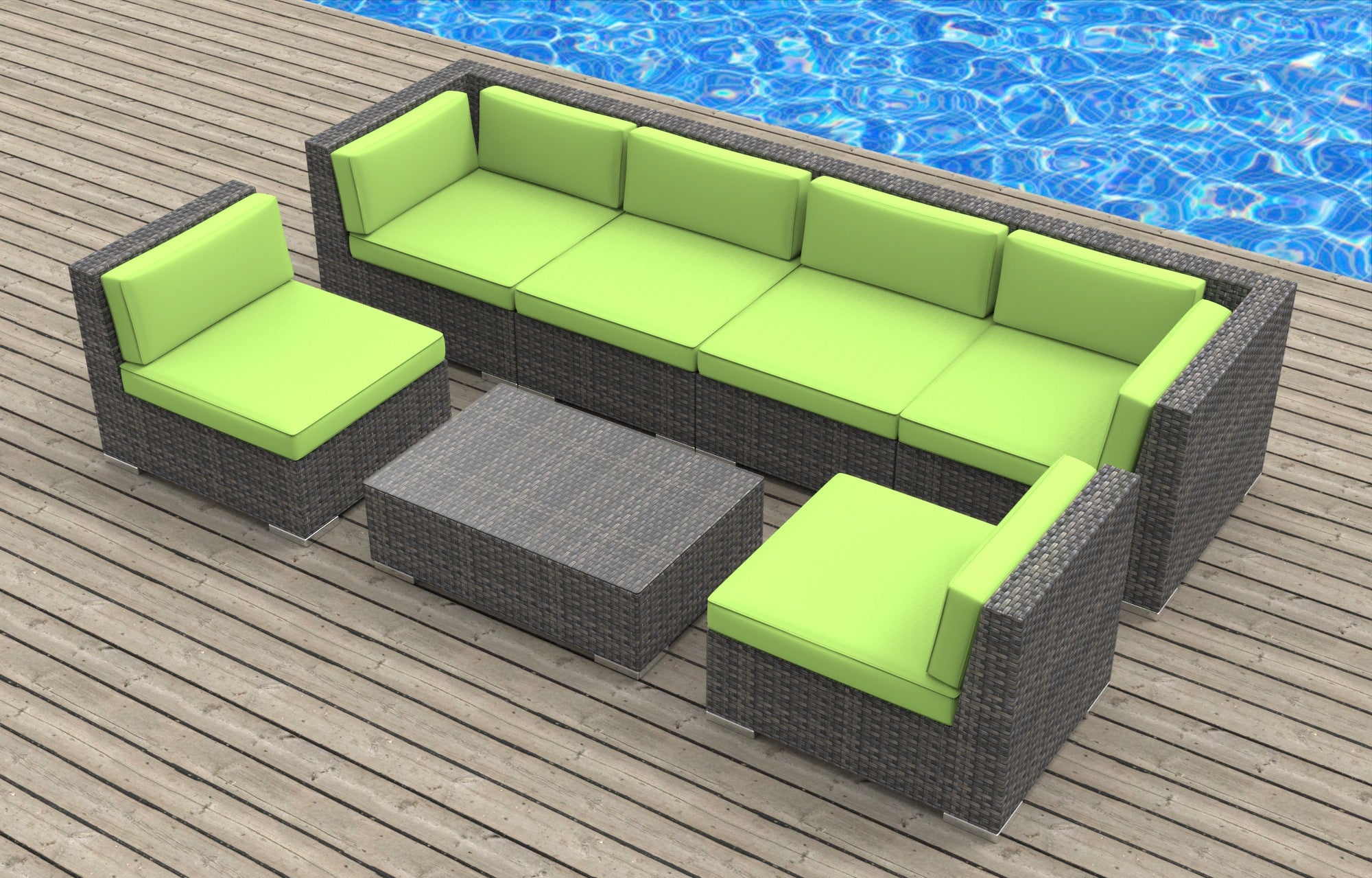 Oahu 7pc Ultra Modern Wicker Patio Set