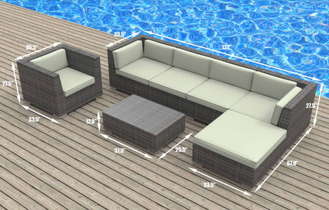 Lanai - 7pc Ultra Modern Wicker Patio Set