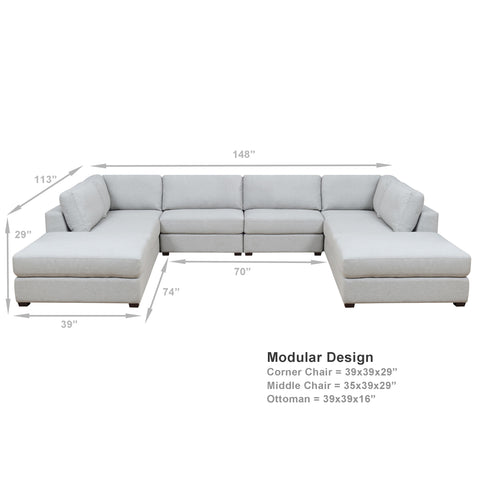 REED 8B Modular Deep Seating Sofa Sectional, 8-piece ***Back-Ordered. Available 1/2019***