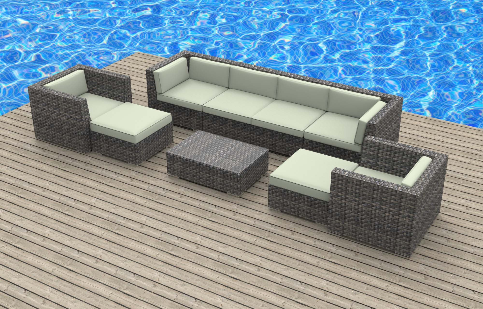 Fiji 9pc Ultra Modern Wicker Patio Set