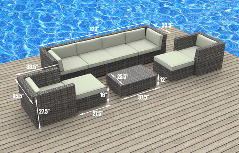 Fiji - 9pc Ultra Modern Wicker Patio Set