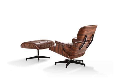 Mid-Century Plywood Lounge Chair and Ottoman - Ultra Premium Version, Antique Brown/Palisander