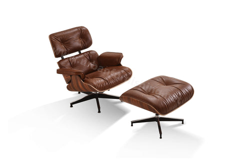 Mid-Century Plywood Lounge Chair and Ottoman - Ultra Premium Version, Antique Brown/Palisander (SOLD OUT! Pre-order now, ships: 6/4/21)