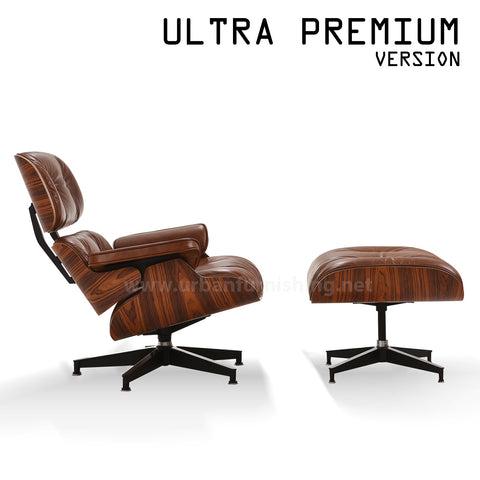 Mid-Century Plywood Lounge Chair and Ottoman - Ultra Premium Version, Antique Brown/Palisander (Back-Order, ETA: 4/17/20)