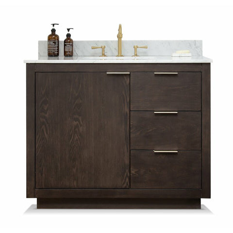 "Brady 42"" Mid-century Vanity Set with Carrara White Quartz Top - Brown Oak"