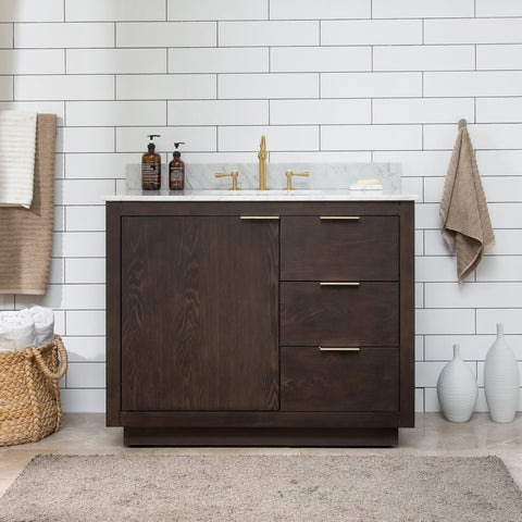 "Brady 42"" Mid-century Vanity Set with White Italian Carrara Marble Top - Brown Oak (SOLD OUT)"