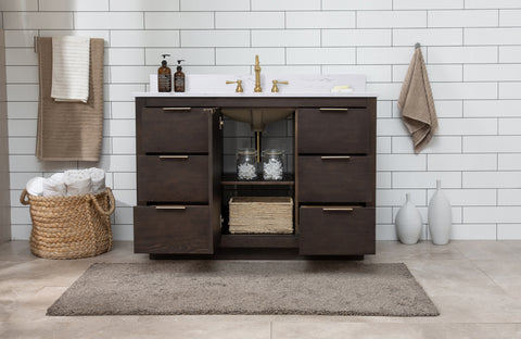 "Brady 48"" Mid-century Vanity Set with Carrara White Quartz Top - Brown Oak"
