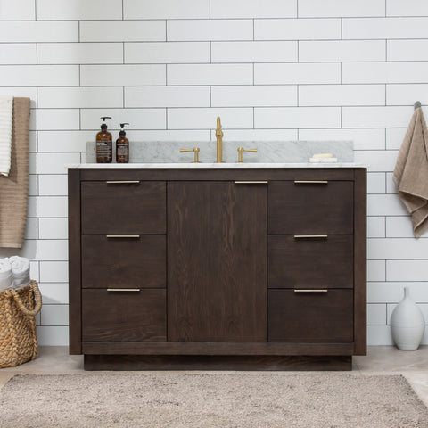 "Brady 48"" Mid-century Vanity Set with White Italian Carrara Marble Top - Brown Oak (SOLD OUT)"