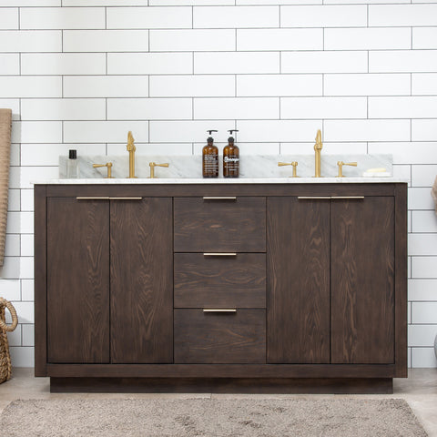 "Brady 60"" Mid-century Vanity Set with Carrara White Quartz Top - Brown Oak"