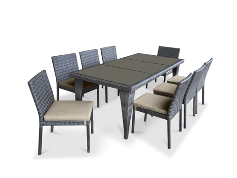 9 Piece Wicker Outdoor Patio Dining Set - Gray Wicker / Beige