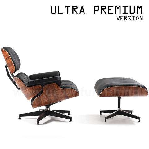 Mid-Century Plywood Lounge Chair and Ottoman - Ultra Premium Version, Black/Palisander (Backorder, ETA: 8/15/20)