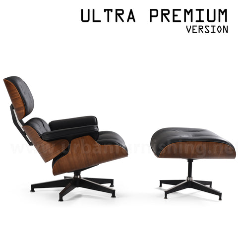 Mid-Century Plywood Lounge Chair and Ottoman - Ultra Premium Version,  Black/Walnut (Back-in-stock: 9/15/20)