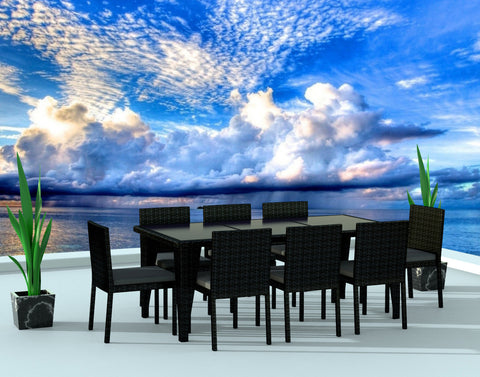 9 Piece Wicker Outdoor Patio Dining Set - Black Wicker / Charcoal