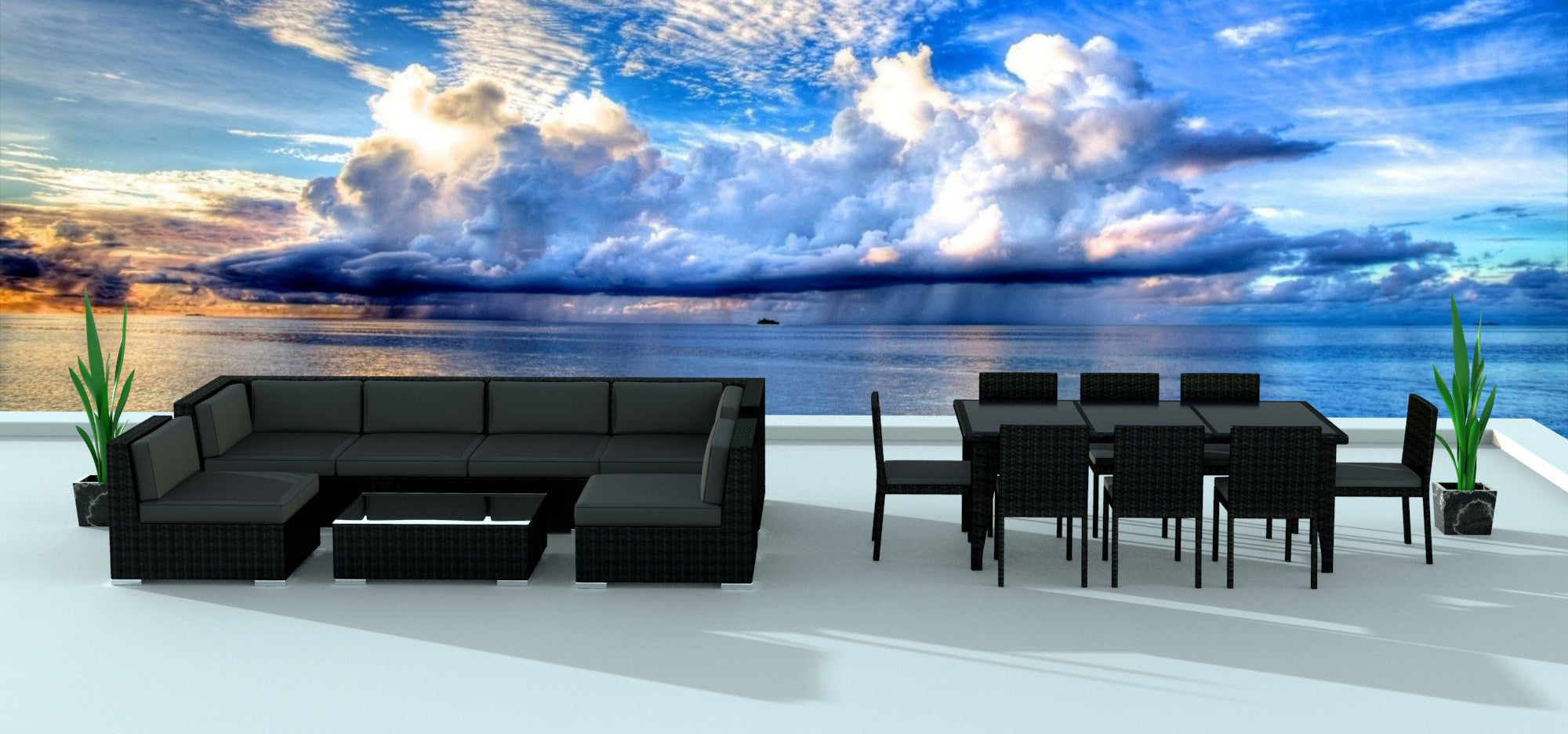 Black Series 16   Ultra Modern Wicker Patio Set