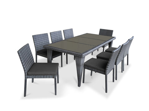 9 Piece Wicker Outdoor Patio Dining Set - Gray Wicker / Charcoal