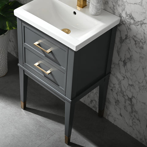 "Clara 20"" Single Bathroom Vanity Set - Dark Gray"