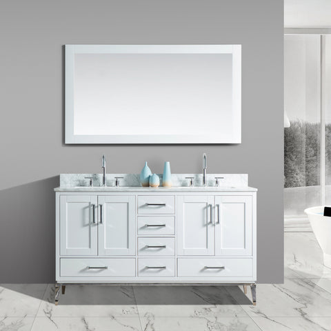"Joy 60"" Vanity Set with White Italian Carrara Marble Top - White"