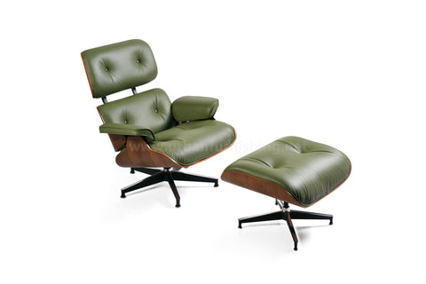 Mid-Century Plywood Lounge Chair and Ottoman - Olive/Walnut, TALL Version