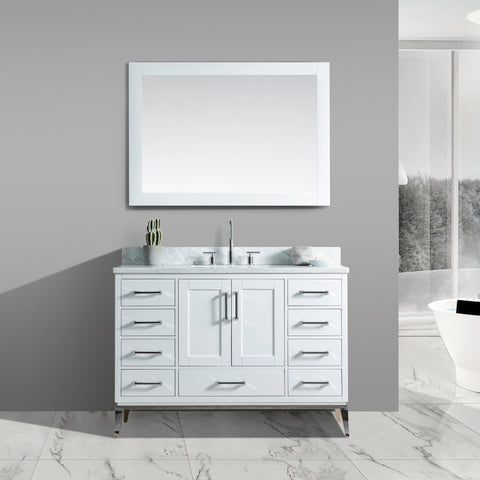 "Joy 48"" Vanity Set with White Italian Carrara Marble Top - White"