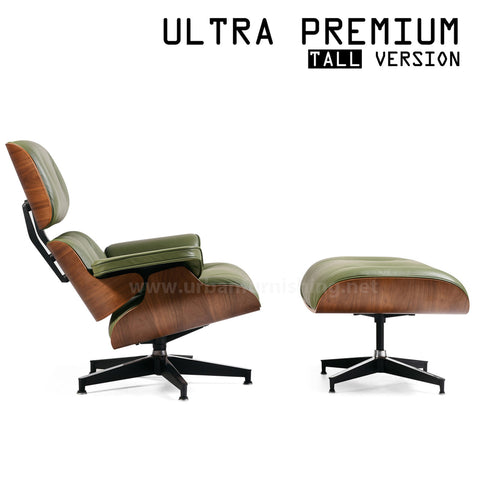 Mid-Century Plywood Lounge Chair and Ottoman - Ultra Premium, Olive/Walnut, TALL Version (Back-in-stock: 8/31/20)