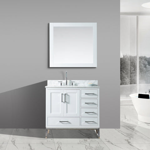 "Joy 36"" Vanity Set with White Italian Carrara Marble Top - White"