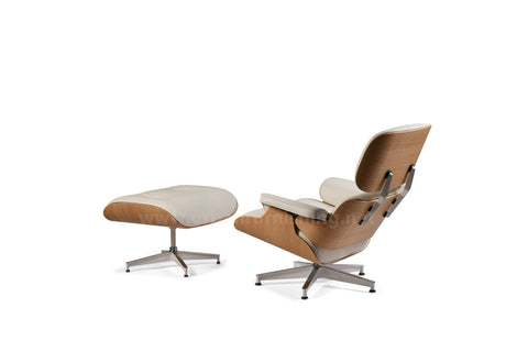 Mid-Century Plywood Lounge Chair and Ottoman - Ivory/White Oak, TALL Version (SOLD OUT! Pre-order now, ships: 5/24/21)