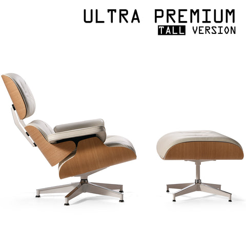Mid-Century Plywood Lounge Chair and Ottoman - Ultra Premium, Ivory/White Oak, TALL Version