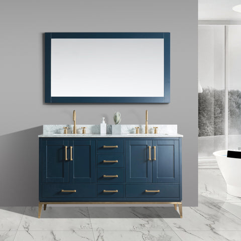 "Joy 60"" Vanity Set with White Italian Carrara Marble Top - Blue"