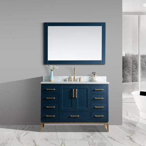 "Joy 48"" Vanity Set with White Italian Carrara Marble Top - Blue **Sold Out**"