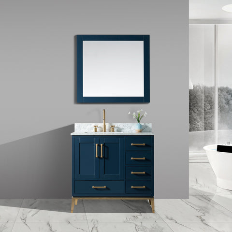 "Joy 36"" Vanity Set with White Italian Carrara Marble Top - Blue"