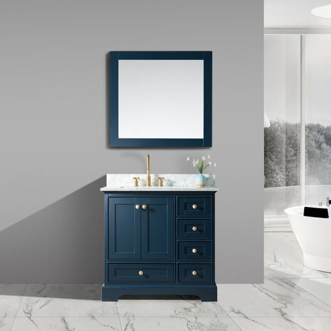 "Jocelyn 36"" Vanity Set with White Italian Carrara Marble Top - Blue **SOLD OUT**"