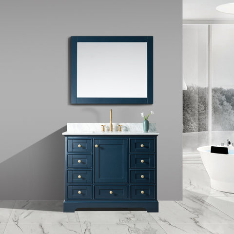 "Jocelyn 42"" Vanity Set with White Italian Carrara Marble Top - Blue (BACK-ORDER, ETA: 6/15/20)"