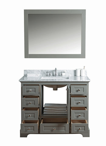 "Jocelyn 42"" Vanity Set with White Italian Carrara Marble Top - Distressed Gray ***Back-ordered. Available 7/30/2018***"