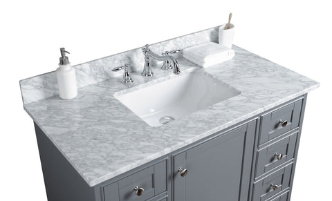 "Jocelyn 42"" Vanity Set with White Italian Carrara Marble Top - Charcoal"